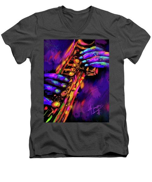 Saxy Hands Men's V-Neck T-Shirt by DC Langer