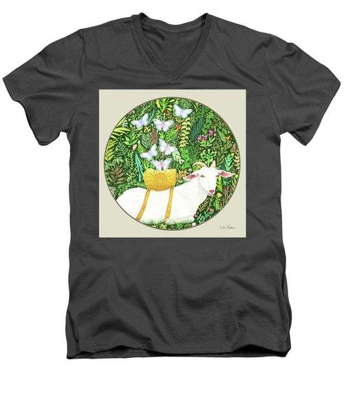 Scapegoat Button Men's V-Neck T-Shirt by Lise Winne