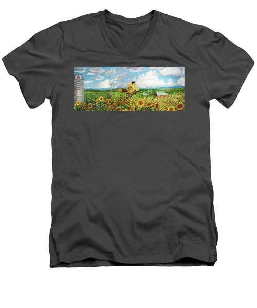 Scare Crow And Silo Farm Men's V-Neck T-Shirt