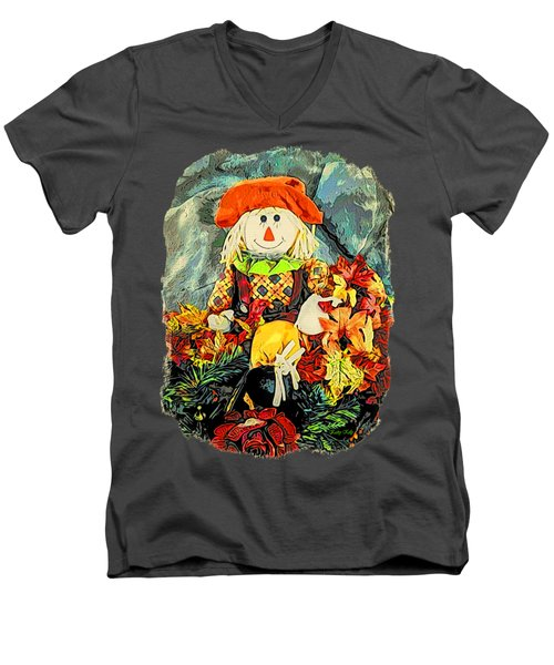 Scarecrow T-shirt Men's V-Neck T-Shirt by Kathy Kelly