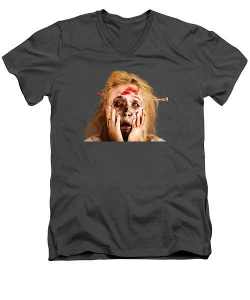 Scared Halloween Monster With Nail Through Head Men's V-Neck T-Shirt by Jorgo Photography - Wall Art Gallery