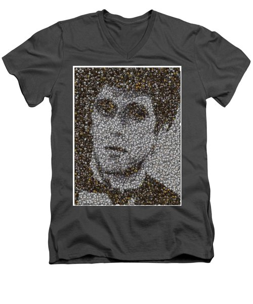 Men's V-Neck T-Shirt featuring the mixed media Scarface Coins Mosaic by Paul Van Scott