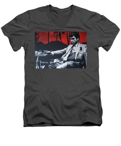 Scarface - Sunset 2013 Men's V-Neck T-Shirt by Luis Ludzska