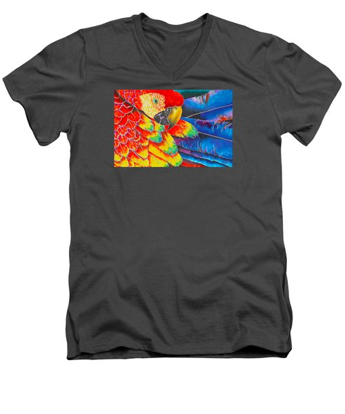 Scarlet Macaw Men's V-Neck T-Shirt