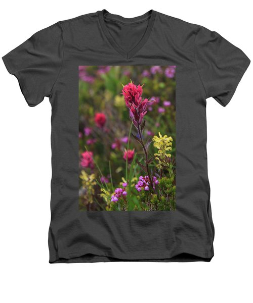 Men's V-Neck T-Shirt featuring the photograph Scarlet Paintbrush by David Chandler