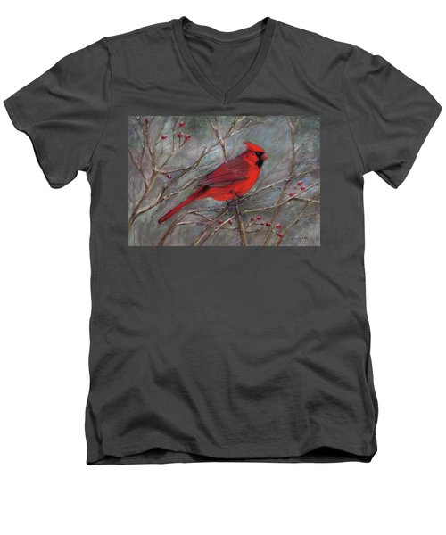 Men's V-Neck T-Shirt featuring the pastel Scarlet Sentinel by Vikki Bouffard