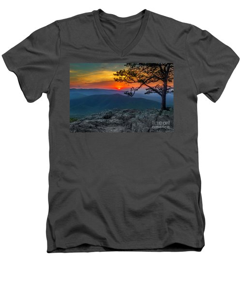 Scarlet Sky At Ravens Roost Men's V-Neck T-Shirt
