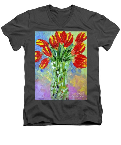 Scarlet Tulips Men's V-Neck T-Shirt by Lynda Cookson