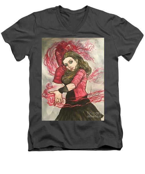 Scarlet Witch  Men's V-Neck T-Shirt by Jimmy Adams