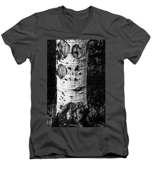 Scarred Old Aspen Tree Trunk In Colorado Forest Men's V-Neck T-Shirt by John Brink