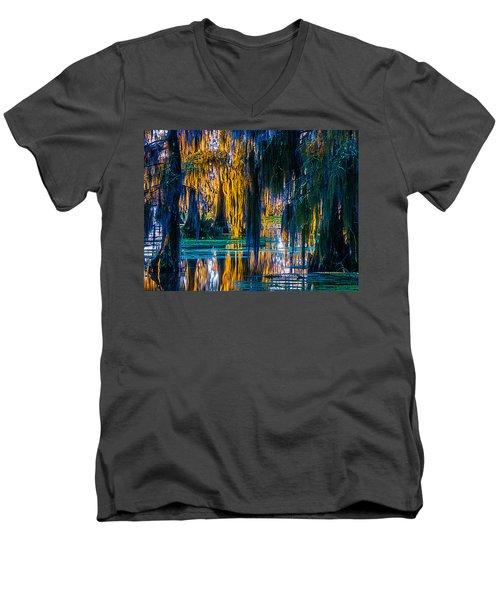 Scary Swamp In The Daytime Men's V-Neck T-Shirt by Kimo Fernandez