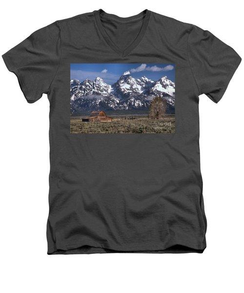 Scenic Mormon Homestead Men's V-Neck T-Shirt by Adam Jewell