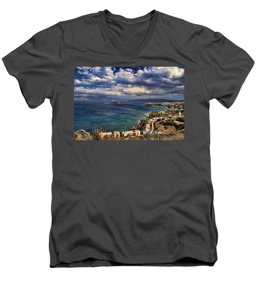 Scenic View Of Eastern Crete Men's V-Neck T-Shirt by David Smith
