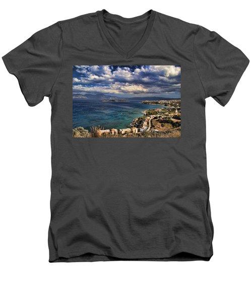 Scenic View Of Eastern Crete Men's V-Neck T-Shirt