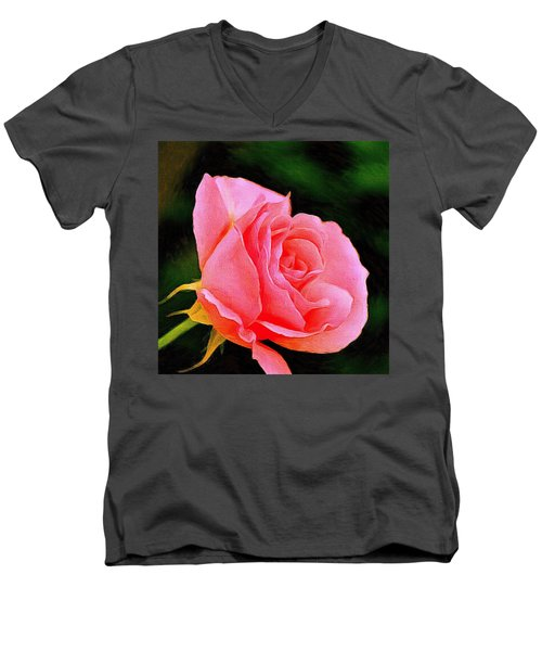 Scented Pink Rose Men's V-Neck T-Shirt