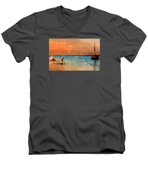 Men's V-Neck T-Shirt featuring the photograph Scheveningen by John  Kolenberg