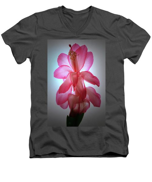 Men's V-Neck T-Shirt featuring the photograph Schlumbergera Portrait. by Terence Davis