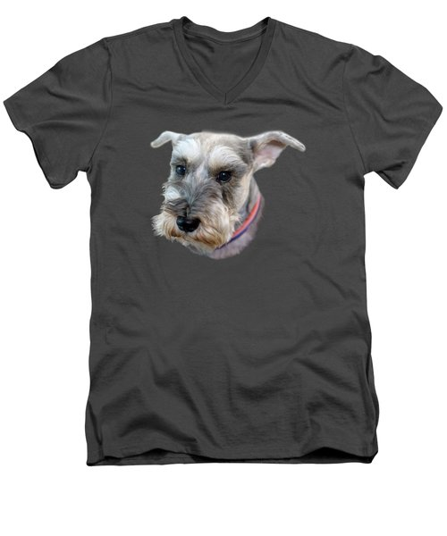 Men's V-Neck T-Shirt featuring the photograph Schnauzer - Transparent by Nikolyn McDonald