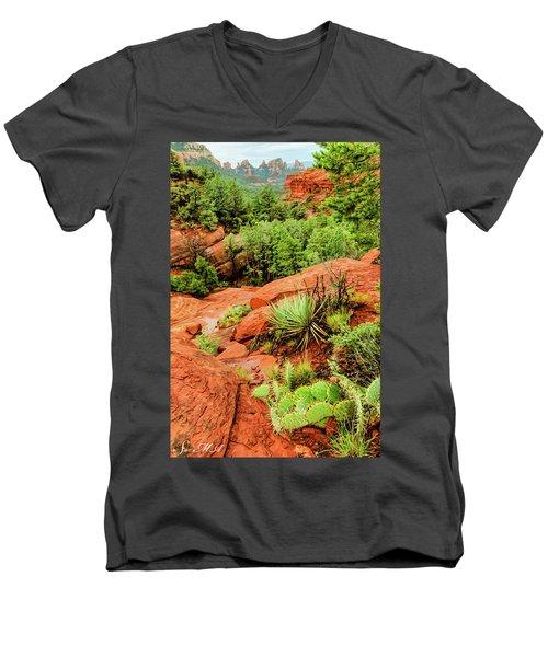 Schnebly Hill 07-057 Men's V-Neck T-Shirt by Scott McAllister