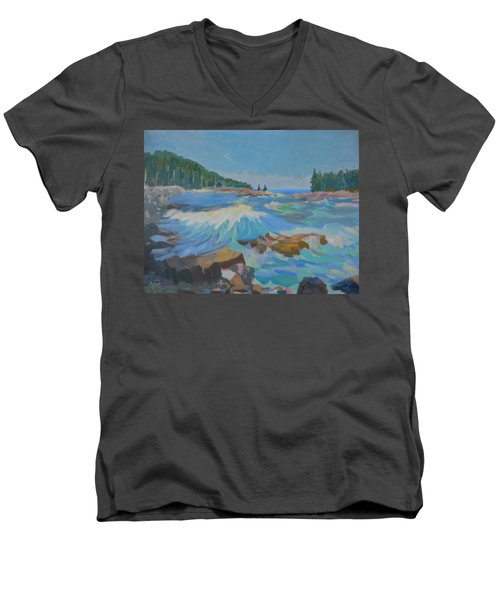 Men's V-Neck T-Shirt featuring the painting Schoodic Inlet by Francine Frank