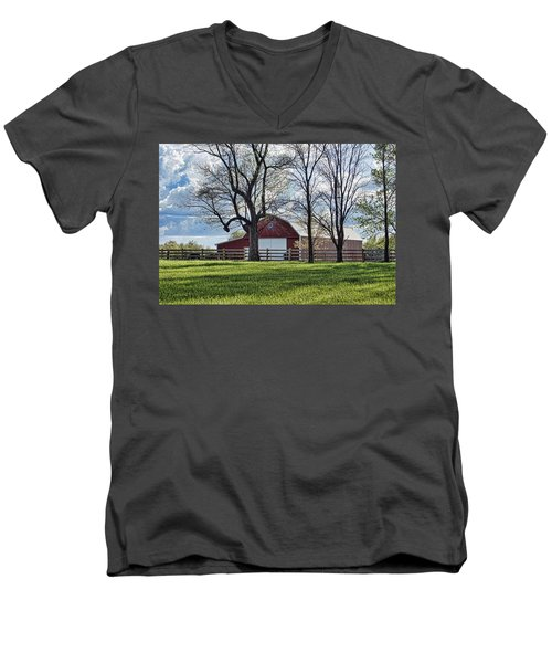 Men's V-Neck T-Shirt featuring the photograph Schooler Road Barn by Cricket Hackmann