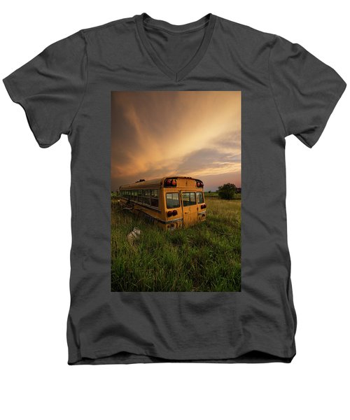Men's V-Neck T-Shirt featuring the photograph School's Out  by Aaron J Groen