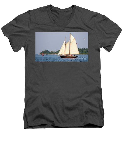 Schooner Cruise, Casco Bay, South Portland, Maine  -86696 Men's V-Neck T-Shirt by John Bald
