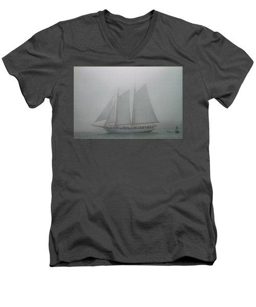Schooner In Fog Men's V-Neck T-Shirt