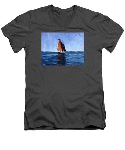 Schooner Roseway In Gloucester Harbor Men's V-Neck T-Shirt by Melissa Abbott