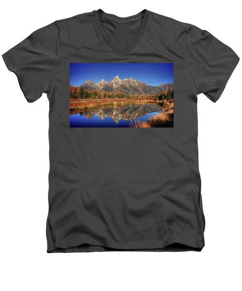 Schwabacher Landing Grand Teton National Park Men's V-Neck T-Shirt by James Hammond