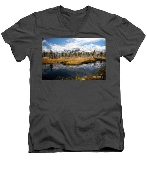 Schwabachers Landing, Grand Teton National Park Wyoming Men's V-Neck T-Shirt
