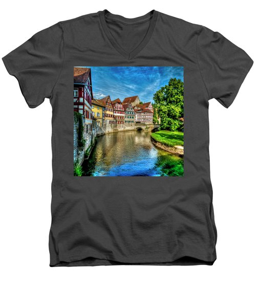 Men's V-Neck T-Shirt featuring the photograph Schwabish Hall by David Morefield