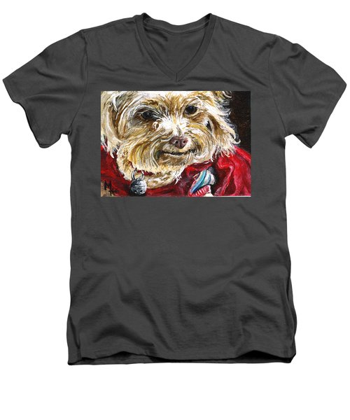 Scooter From Muttville Men's V-Neck T-Shirt by Mary-Lee Sanders