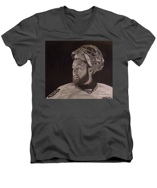 Men's V-Neck T-Shirt featuring the drawing Scott Darling Portrait by Melissa Goodrich