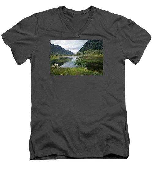 Scottish Tranquility Men's V-Neck T-Shirt by Dubi Roman