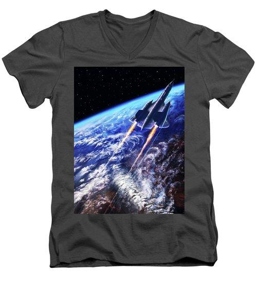 Scraping Outer Spheres Men's V-Neck T-Shirt by Dave Luebbert