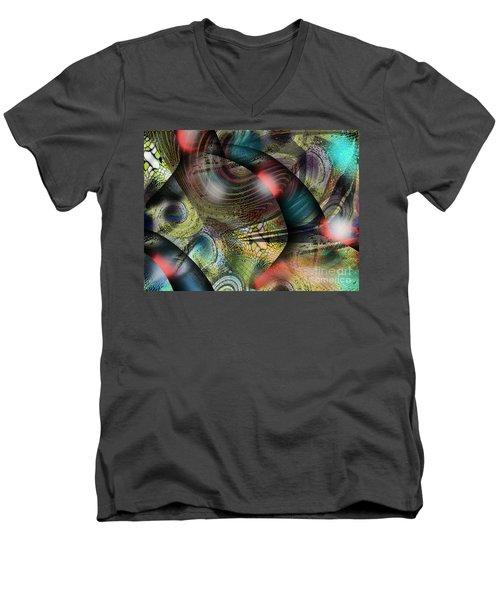 Screaming Spirals Men's V-Neck T-Shirt by Yul Olaivar