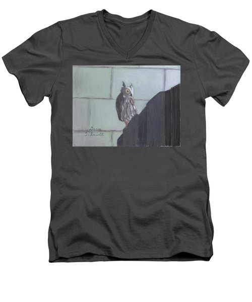 Screech Owl On Gate To Pergola Men's V-Neck T-Shirt