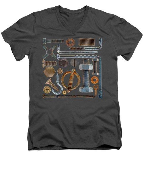Screws, Nuts Bolts And Hooks On Transparent Background Men's V-Neck T-Shirt