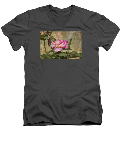 Men's V-Neck T-Shirt featuring the photograph Scripted Rose by Joan Bertucci