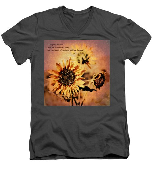 Men's V-Neck T-Shirt featuring the photograph Scripture - 1 Peter One 24-25 by Glenn McCarthy Art and Photography