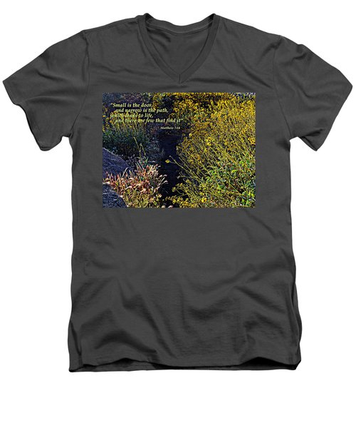 Men's V-Neck T-Shirt featuring the photograph Scripture - Matthew 7 Verse 14 by Glenn McCarthy Art and Photography