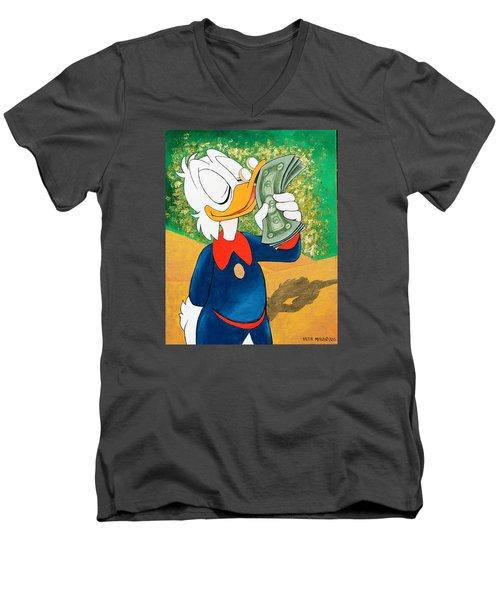 Scrooge Mcduck Kissing Money Men's V-Neck T-Shirt