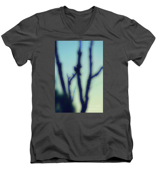Men's V-Neck T-Shirt featuring the photograph Scrub Silhouette by Cassandra Buckley
