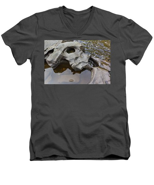 Men's V-Neck T-Shirt featuring the photograph Sculpted Rock by Peter J Sucy