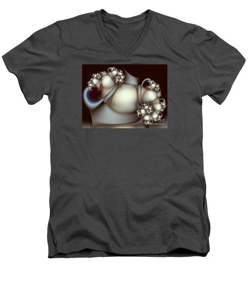 Men's V-Neck T-Shirt featuring the digital art Sculpture by Karin Kuhlmann