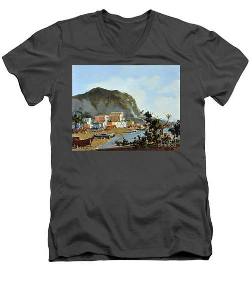 Men's V-Neck T-Shirt featuring the painting Sea And Mountain With Boats by Rosario Piazza