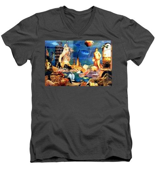Men's V-Neck T-Shirt featuring the painting Sea Garden by Gail Kirtz