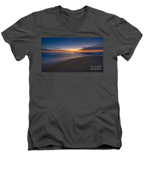 Sea Girt Sunrise New Jersey  Men's V-Neck T-Shirt by Michael Ver Sprill