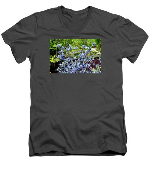 Sea Holly Blooming Men's V-Neck T-Shirt by Tanya Searcy